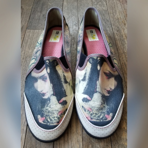 dbe4dcc8297 Keds Shoes - Keds Studio Black Cream Flats Slip On Goth Graphic